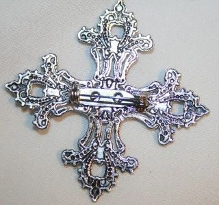 lacy filigree fleur de lis cross religious brooch pin