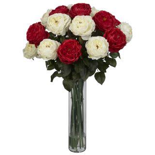 Artificial Red White Rose Silk Fake Flower Arrangement