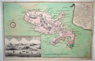 Raspe Le Rouge Map Martinique Inset View of Fort Royal Uncommon