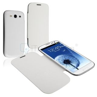 White Leather Flip Book Case Battery Cover for Samsung Galaxy S3 III