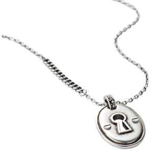 Fossil Brand Boyfriend Starter Charm Necklace Silver Tone Chain $38