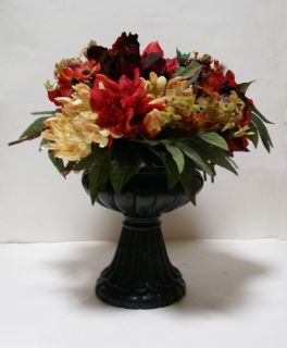 Vintage Fancy Faux Artificial Flowers Arrangement Antique Looking Home