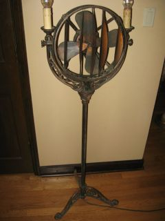 Antique Art Deco Funeral Parlor Floor Lamp Fan