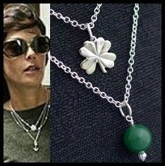 Four Leaf Clover Charm Shamrock Layer Chain Necklace Silver pendant