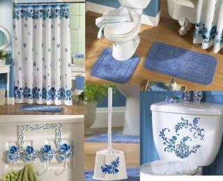 Blue Rose Floral Flower White Shower Curtain Bath Rug Mat Set Bathroom
