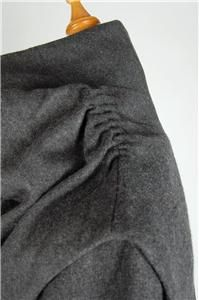French Cop Copine Fluor Long Wool Coat Jacket Shrug 2 PC Set 38 Gray