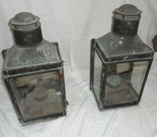 Pair of Antique Brass Ship Lights Maritime Working Lamps w/ attachment