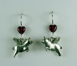 Pewter Sterling Silver Flying Pig Dangle Earrings When Pigs Fly Swine