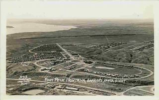 Fort Peck Montana MT 1930s Aerial Real Photo Postcard Fort Peck