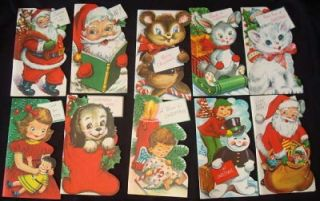 18 Vtg 1950s Christmas Greeting Cards Santa Cat Puppy Angel Doll Etc