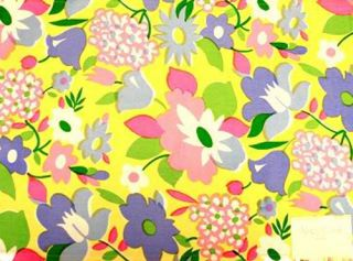 Floral Bouquet Yellow Reversible Purple White Dots Fabric Set Of 4