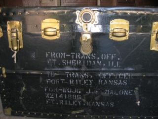 Vintage Military Army Trunk Storage Box Chest Table 21 5D x 35L x 22