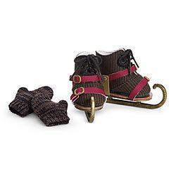 NIB American Girl Doll CAROLINEs ICE SKATING SET~Skates Mittens Boots