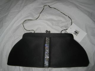Franchi Rhinestone Purse Clutch Evening Bag Black