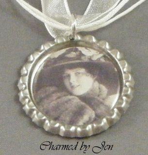 Victorian Woman w Fur Coat Miniature Portrait Bottle Cap Altered Art