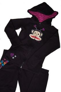 Paul Frank Black Hoodie sweat Pants Set Monkey Hearts Size 8 Cute