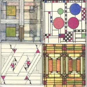 frank lloyd wright art glass stone coasters set 4 frank lloyd wright