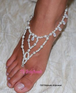 Barefoot Sandals Foot Jewelry Beach Wedding Teardrops Pearls