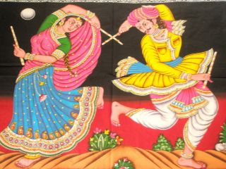 Folk Dance Sequin Indian Tapestry Wall Hanging Ethnic Wall Decor Art
