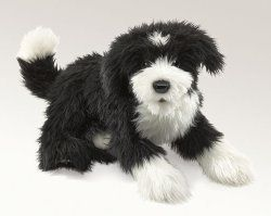 Folkmanis Portuguese Water Dog Puppet with Moveable Mouth New