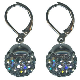 KIRKS FOLLY FAIRY FIRE BALL LEVERBACK EARRINGS hematite / jet