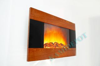 GV Modern Wood Trim Panel Electric Fireplace Heater Wall Mount Style