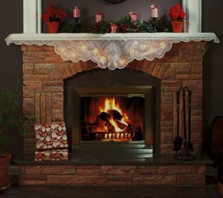 Light Christmas Holiday Decor Lace Mantel Mantle Fireplace Scarf
