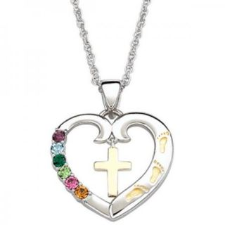 Sterling Silver Birthstone Footprints Cross Heart Necklace