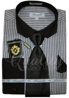 Fratello 2 Colors Clip Collar Pinstripe Dress Shirt French Cuff Tie