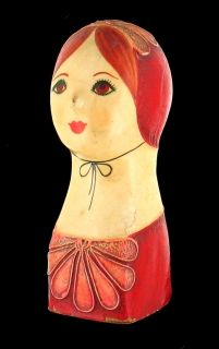 VINTAGE PAPER MACHE HAND PAINTED FEMALE BUST CAPISTRANO MEXICO