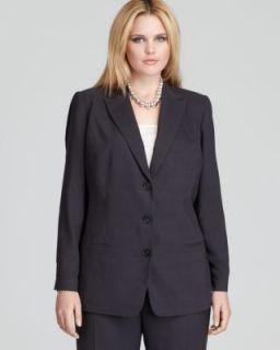 Tahari New Francine Navy Three Button Long Sleeve Jacket Blazer Plus
