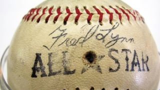 Joe DiMaggio Autographed Fred Lynn Wilson All Star Baseball