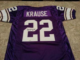 Paul Krause Autographed / Signed Football Jersey Minnesota Vikings COA