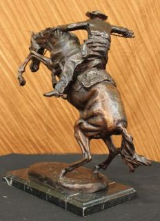 Bronco Buster Frederic Remington Bronze Statue Western Art Marble Base