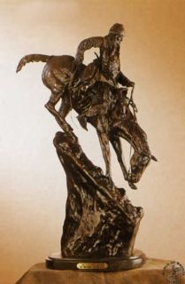 MAN BRONZE Frederic Remington Bronze Handcast Sculpture w/ Marble Base