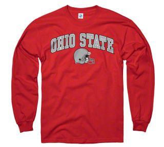Ohio State Buckeyes Red Football Helmet Long Sleeve T Shirt