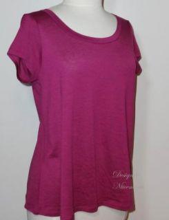 Eileen Fisher s Round Neck Tee Top Cap Sleeves Primrose Silk Cotton