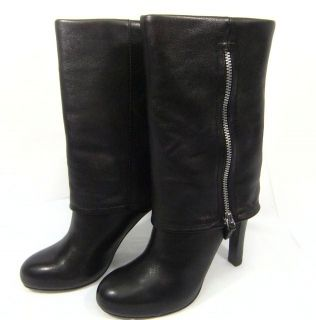Franco Sarto Boots Black Leather Zippered Cuff Nappa 5M