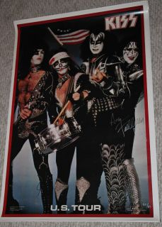 Kiss Ace Frehley Autographed 76 on Tour Poster