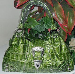 New Mock Croc, Rhinestone Buckle Western Bag, Green  (wallet also