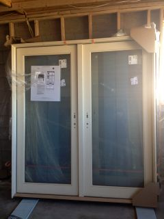 JELD WEN PREMIUM LOW E EXTERIOR CLAD FRENCH DOORS PRE HUNG PINE 2 658
