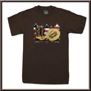 Cowboy Boots Hat & American USA Flag T Shirt S,M,L,XL,2X,3X,4X,5X