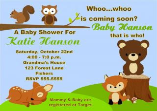 Forest Creatures Animals Owl Baby Shower Invitation 1st Birthday