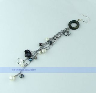 Beautiful MOP Black White Freshwater Pearl Earrings AAA Service