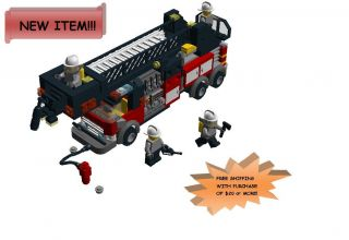 Lego Town City CUSTOM FIRE LADDER BUCKET TRUCK Instructions only