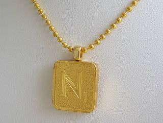 Franklin Mint 24K Plated Gold Scrabble Tile Pendant Necklace Letter