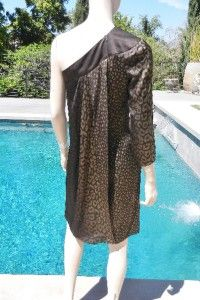 RUNWAY GLAM***$3,195 NWT GUCCI One Shoulder Silk Animal Print