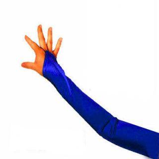 23 Fingerless Satin Dark Blue Long Prom Opera Gloves