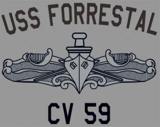 US Navy USS Forrestal CV 59 T Shirt Aircraft Carrier