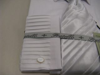 New Fratello Fashion Dress Shirt w Tie and Hanky Pleated White Size